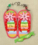 Colorful Flip Flop wall art with hanger.