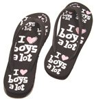 'I Love Boys flipflops -- these would've went perfectly with my 'WARNING: I Brake For Cute Guys' bumper sticker!