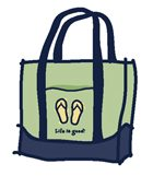 Life is Good flip flop tote bag.